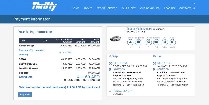 Como alquilar un coche en Abu Dhabi