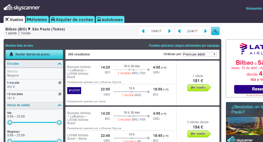 Como encontrar vuelos baratos Skyscanner