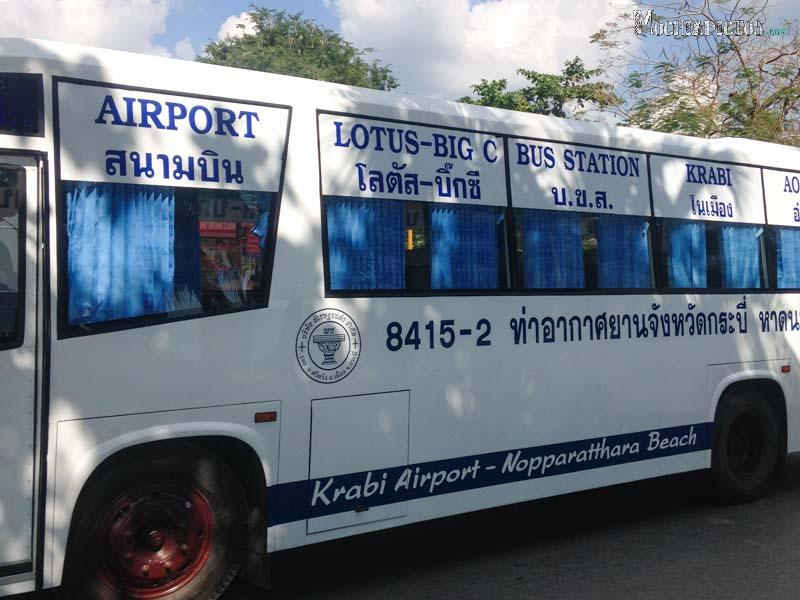 Autobis que va y viene del aeropuerto de Krabi a Ao Nang