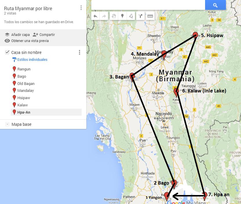 Ruta Myanmar por libre