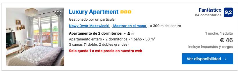 apartamento cerca aeropuerto modlin
