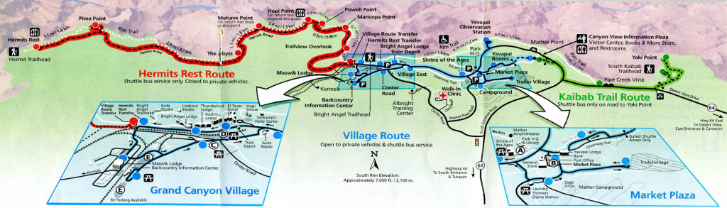 Mapa autobuses Gran Cañon