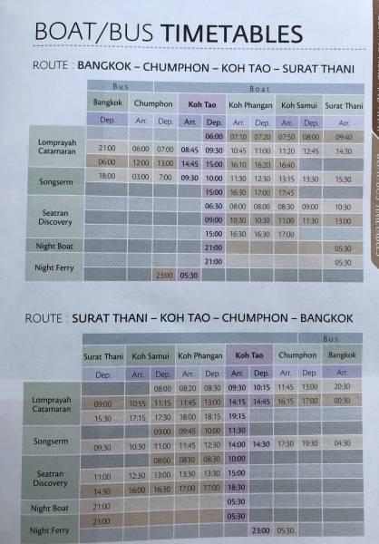 horarios bus y ferry a Koh Tao