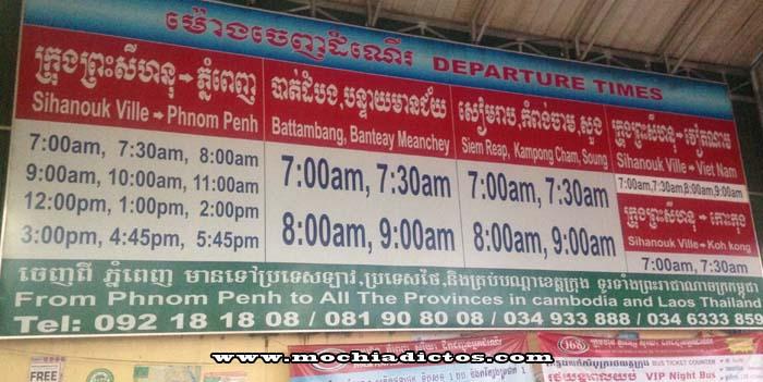 Horarios de vuelta Sihanoukville - Phnom Penh